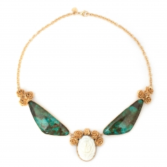 Rose Bib Cameo Necklace Turquoise Gold