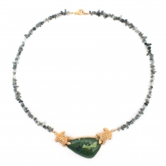 Rutilated Quartz Turtle Necklace Gold Green Turquoise