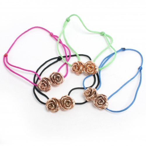 Rose Double Bead Cord Bracelet Rose Gold