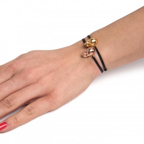Skull Bracelet Cord Gold Rose