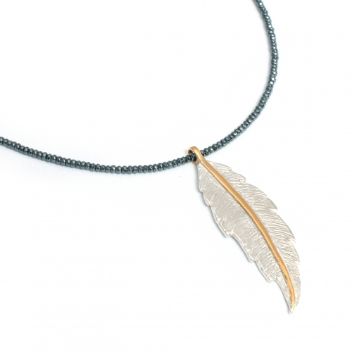 Feather Hematite Necklace Silver Gold
