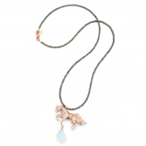 Unicorn Necklace Rose Gold Pyrite
