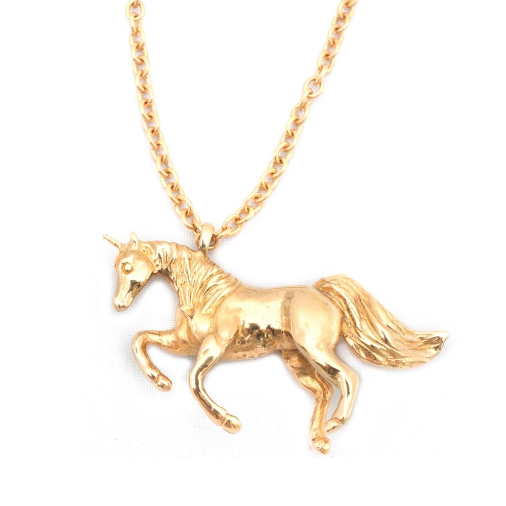 Unicorn Necklace Gold Leivankash Jewellery