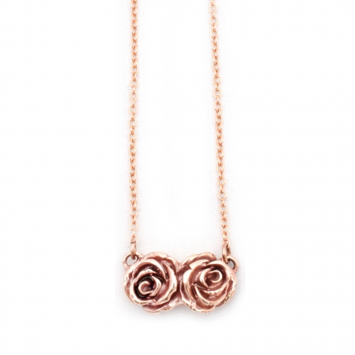 Double Rose Love Necklace Rose Gold