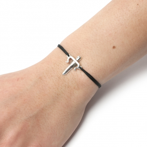 Dagger Cord Bracelet Silver
