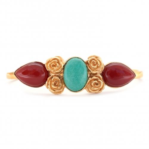 Haya Hand Cuff Turquoise Carnelian Gold