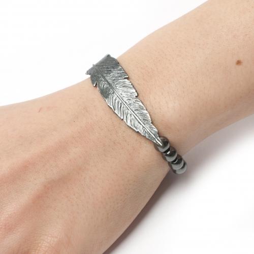 Feather Bead Hematite Bracelet Black Oxidized