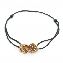 Double Rose Bead Cord Bracelet Gold