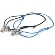 Skull Blue Topaz Eyes Cord Bracelet Silver