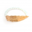 Feather Opalite Bead Bracelet Gold