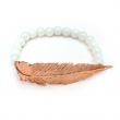 Feather Opalite Bead Bracelet Rose Gold