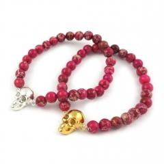 Skull Bead Bracelet Pink Jasper Silver Gold