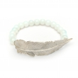 Feather Opalite Bead Bracelet Silver
