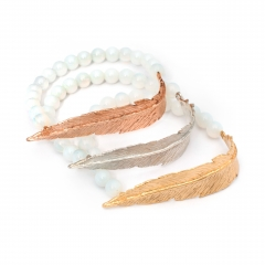Feather Opalite Bead Bracelet Silver Rose Gold