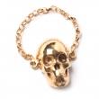 Skull Chain Ring Gold