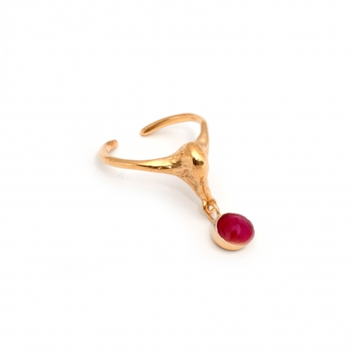 Swan Pinky Midi Ring Gold and Pink Gem