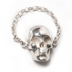 Skull Chain Ring Silver