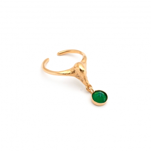 Swan Pinky Midi Ring Gold and Green Gem