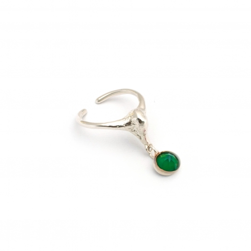 Swan Midi Pinky Ring Silver And Green Gem