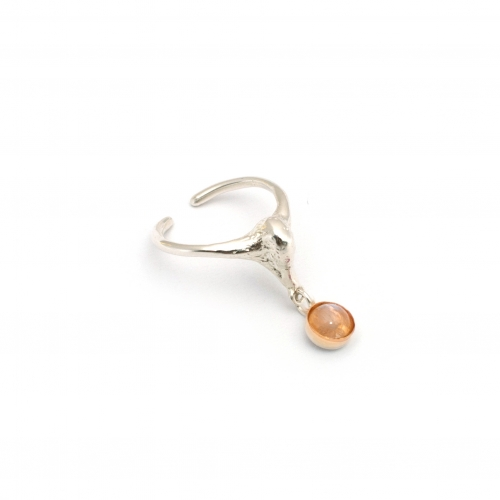 Swan Midi Pinky Ring Silver And Moonstone Gem