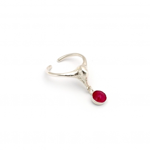 Swan Midi Pinky Ring Silver And Pink Gem