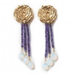Rose Earrings Amethyst Opalite Gold