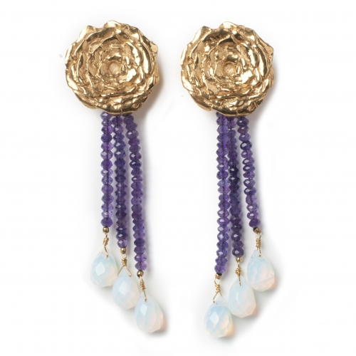 Rose Earrings Amethyst Opalite Gold