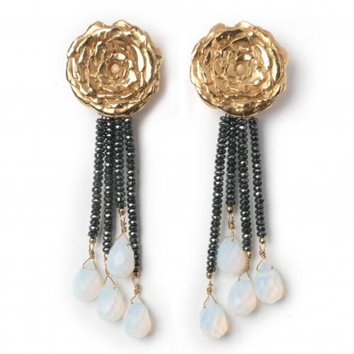 Rose Earrings Black Hematite Opalite Gold