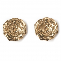 Rose Statement Stud Earrings Gold