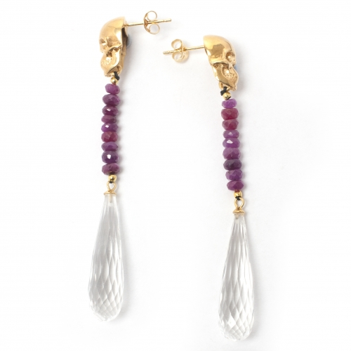 Skull Drop Earrings Rock Crystal Gold