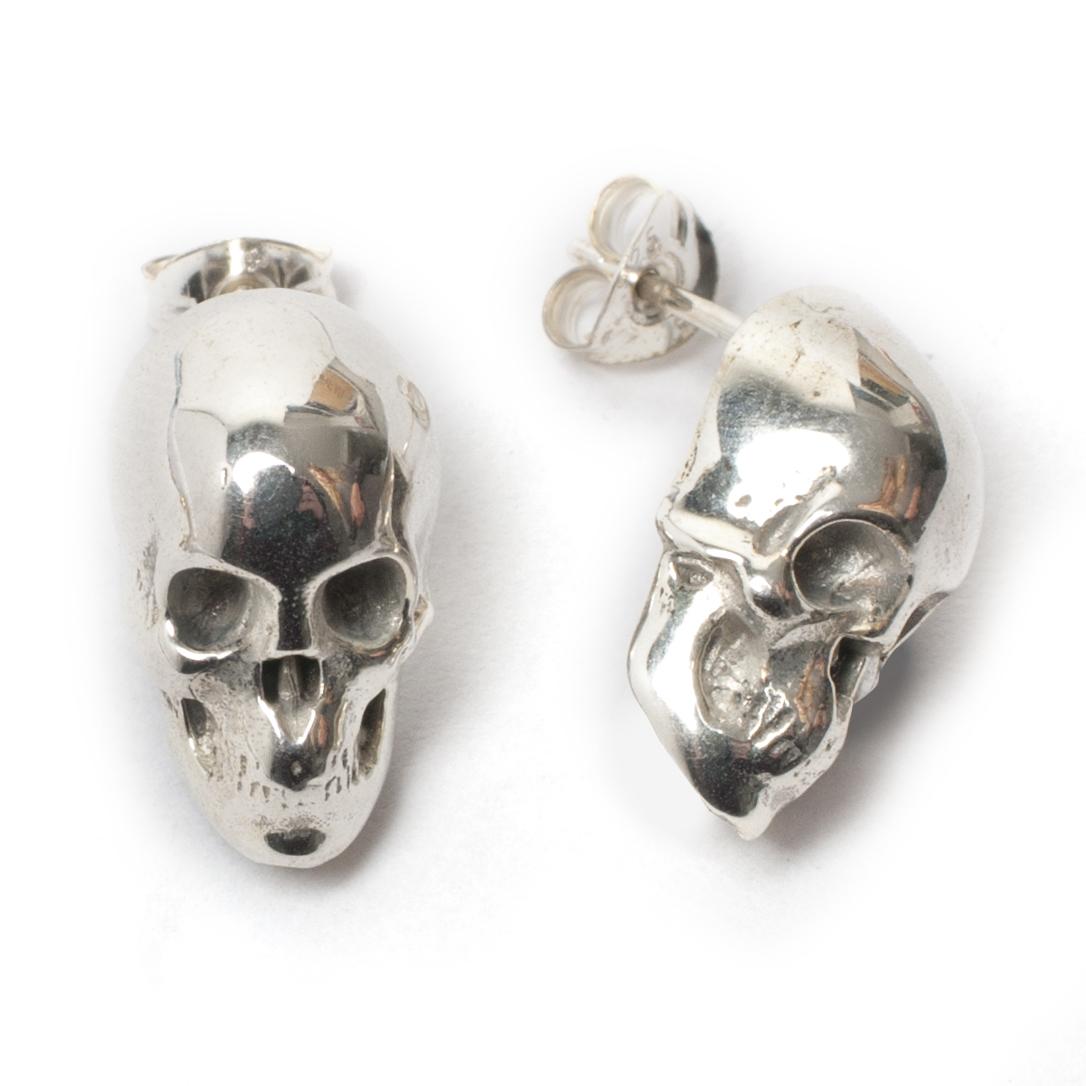 Skull Stud Earrings Silver