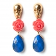 Skull Earrings Coral Lapis Gold