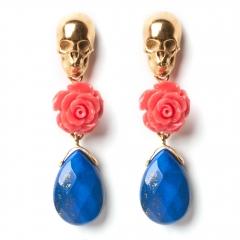 Skull Earrings Coral Lapis Gold