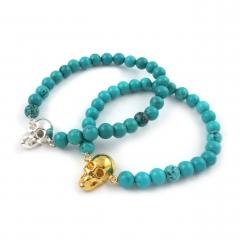 Skull Bead Bracelet Turquoise Silver Gold