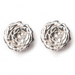 Rose Statement Stud Earrings Silver