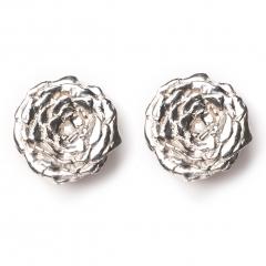 Rose Statement Stud Earrings Silver