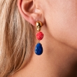 Skull Earrings Coral Blue Lapis Gold
