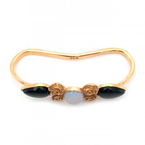 Haya Hand Cuff Rose Black Onyx Opalite Gold