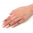 Swan Pinky Midi Rings Coloured Gem Gold
