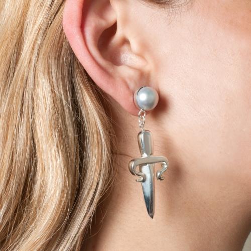 Dagger Drop Mono Earring Pearl Silver