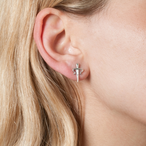 Dagger Stud Earrings Silver