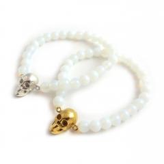 Skull Bead White Opalite Bracelet Silver Gold