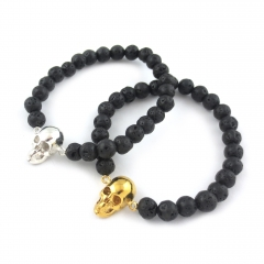 Skull Bead Bracelet Black Lava Silver Gold