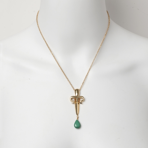 Dagger Drop Necklace Green Malachite Gold