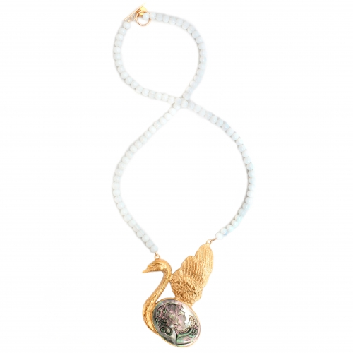 Swan Cameo Necklace Gold And Mother of Pearl