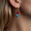 Skull Drop Earrings Coral Blue Jasper Gold