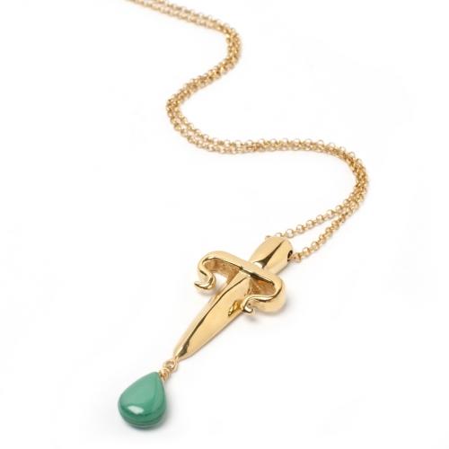 DA12 Dagger Malachite Necklace Gold