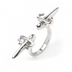 Dagger Double Ring Silver