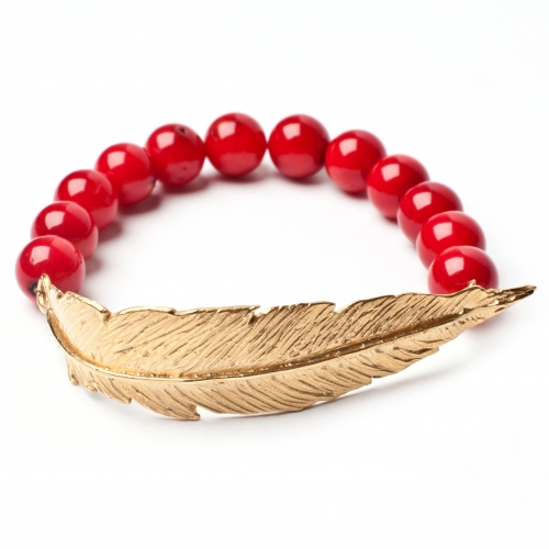 FBBOCYG Feather Orange Coral Bracelet