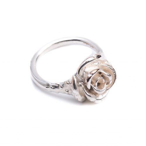 Rose Pinky Midi Ring Silver